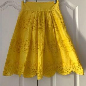 Tibi Yellow A Line Eyelet Knee Length Skirt 0